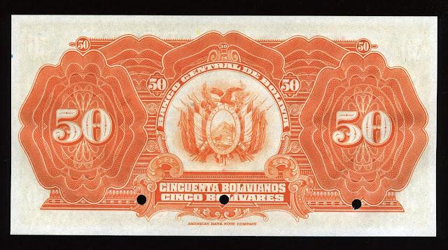 Notafilia Numismática collecting paper money Papiergeld Billete 50 Bolivian bolivianos banknote