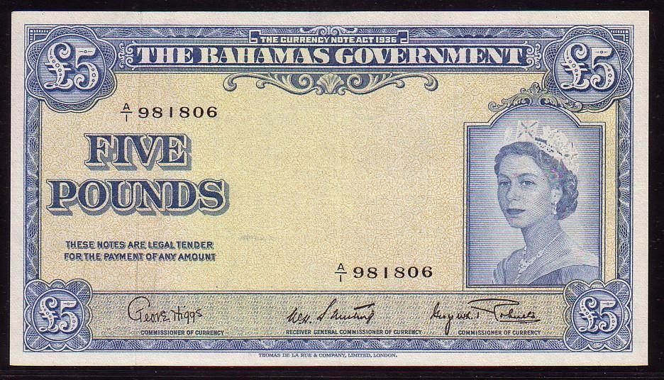 Currency Of The Bahamas 5 Bahamian Pounds Banknote 1953