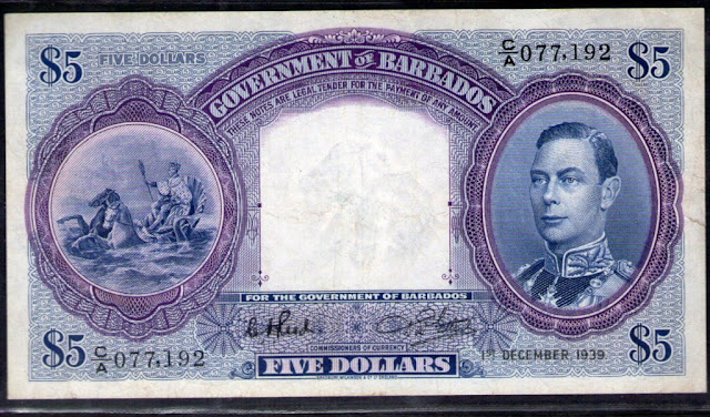 Barbados currency 5 dollars banknote British West Indies Dollars