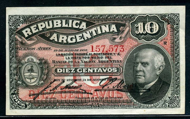 paper money Argentina 10 Centavos banknote Fractional Currency