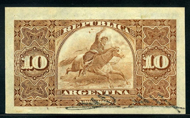 Argentina 10 Centavos banknote Argentine Gaucho