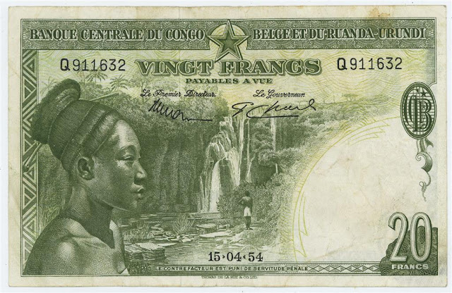 Belgian Congo banknotes currency 20 Francs note