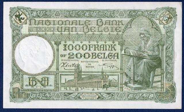 Belgium 1000 Francs 200 Belgas