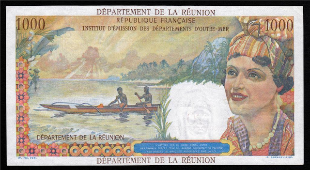 Reunion 1000 Francs bank note bill world money currency