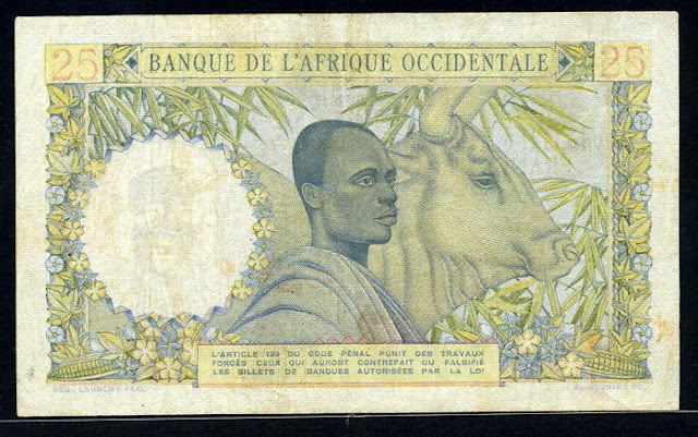French West Africa banknotes 25 Francs Billet de 25 francs