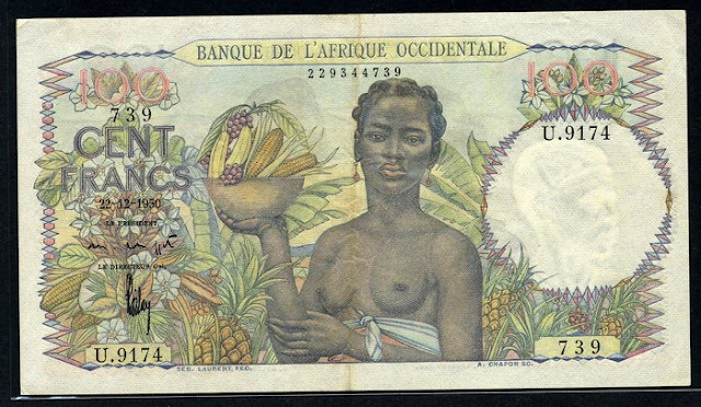 pictures of money French West Africa banknotes 100 Francs note bill