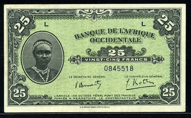 collection of currency French West Africa 25 Francs banknote