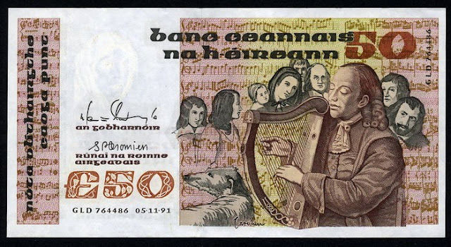 Ireland Republic currency 50 Pounds banknote