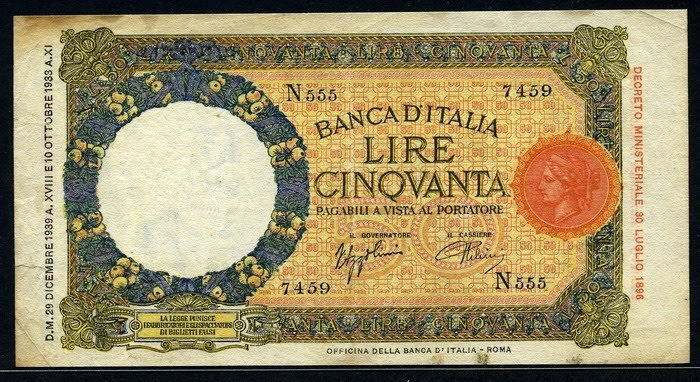 italy 50 lire banknote 1939