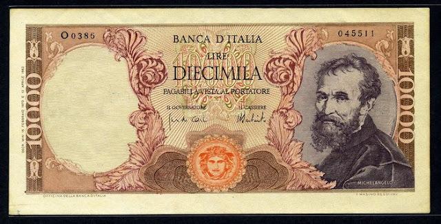 World paper money Italy 10000 Lire Michelangelo Buonarroti