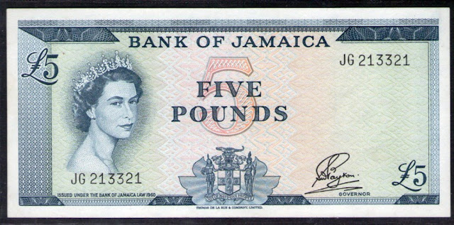British Jamaica banknotes 5 Pounds note Queen Elizabeth