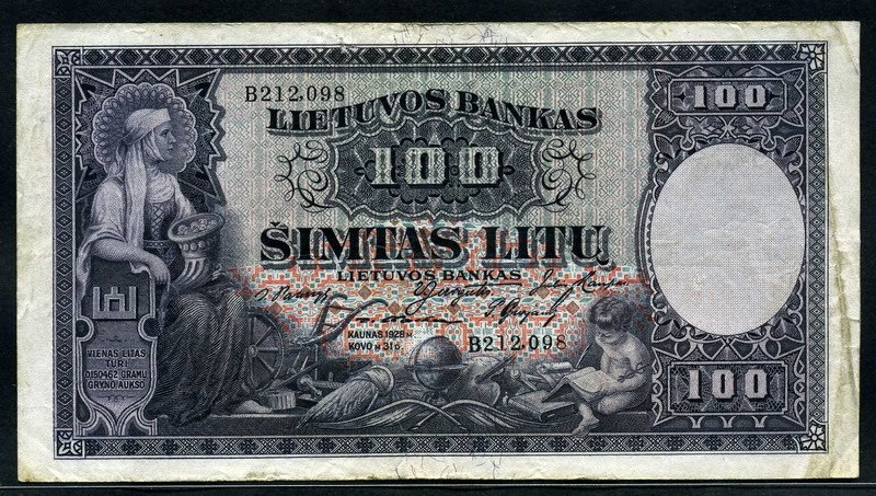 Lithuania Currency 100 Litu Banknote Of 1928 World Banknotes Amp Coins Pictures Old