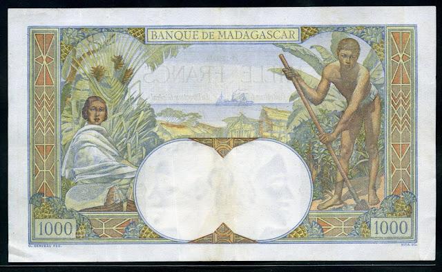 Madagascar banknotes 1000 Francs Malagasy franc