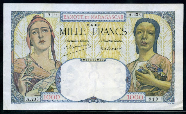 Madagascar Malagasy 1000 Francs banknote French Marianne