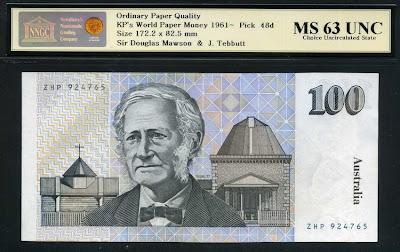 Paper money currency Australia 100 Dollars banknote