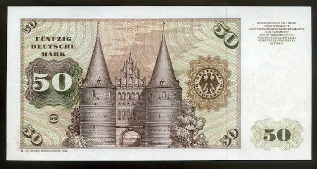 Germany Paper Money 50 Deutsche Mark Lübeck Holstentor