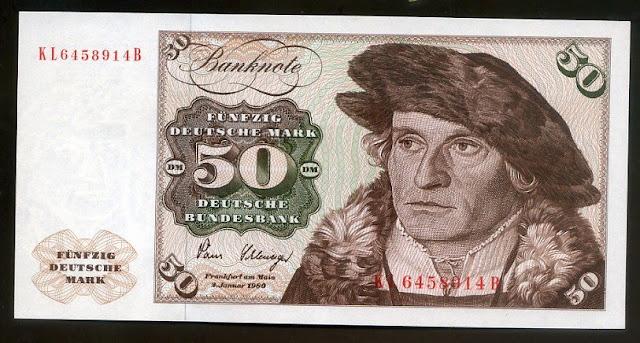 German banknotes 50 Deutsche Mark banknote Chamberlain Hans Urmiller