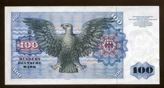 Germany money currency notes 100 Deutsche Mark banknote