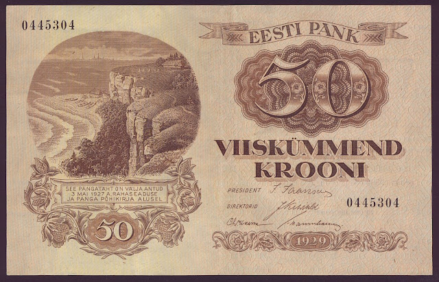 Paper Money ESTONIA currency 50 Kroon banknote