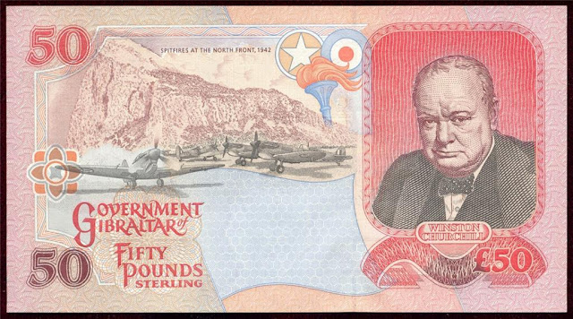 World Currency Gibraltar 50 Pound Banknote Sir Winston Churchill Spitfires