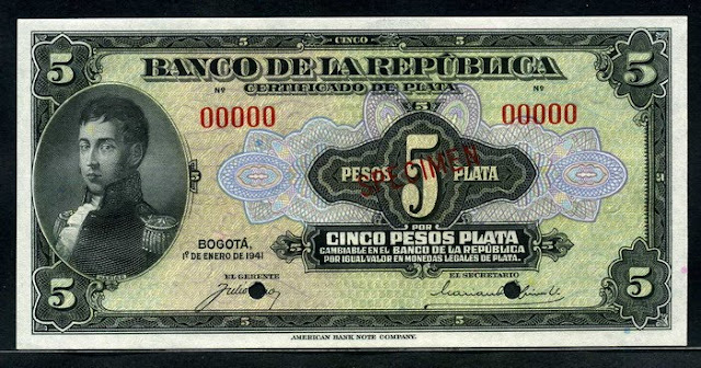 Colombian banknotes 5 Pesos bank note currency paper money