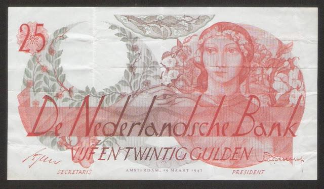 Paper Money Netherlands 25 Gulden baanknote