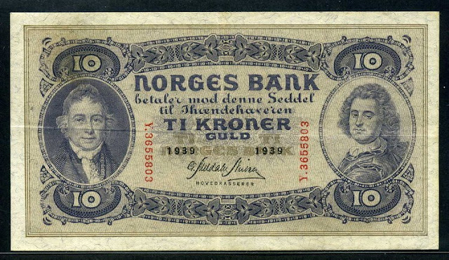 Norway banknotes paper money currency 10 Kroner banknote NORGES BANK