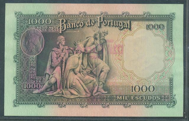 Portugal paper money 1000 Escudos bank note