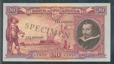 Portuguese Angola banknotes 20 Angolares banknote note bill