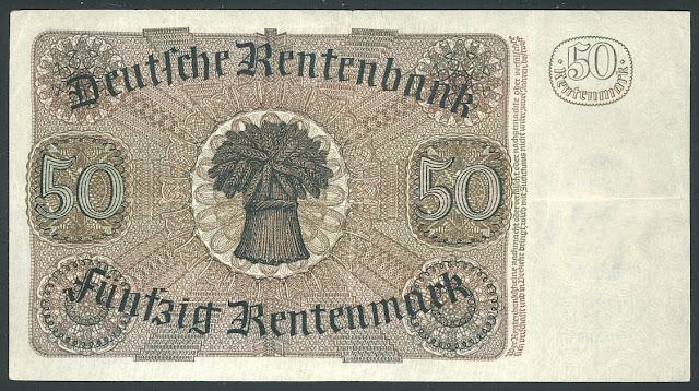 German bank notes 50 Rentenmark money currency image