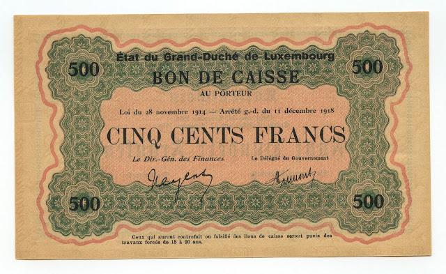 Luxembourg Bon de Caisse 500 Francs Banknote