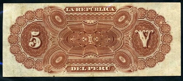 Peru  5 Soles banknote Notafilia Numismática collecting paper money Papiergeld billete