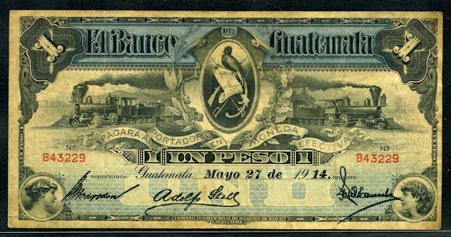 Guatemala 1 Peso, 1914 issue banknote Notafilia Numismática collecting paper money Papiergeld billete