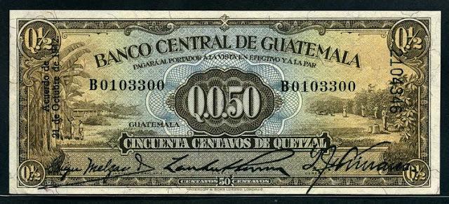 Guatemala banknote 50 Centavos de Quetzal world paper money Notafilia Numismática billete
