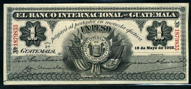 El Banco Internacional de Guatemala 1 Peso world paper money