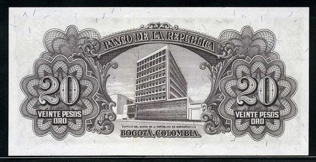 Colombian banknote 20 Pesos Oro Notafilia Numismática collecting paper money Papiergeld billete