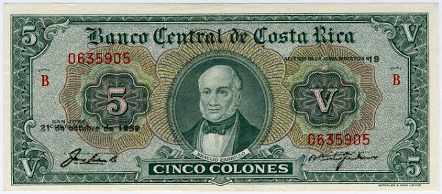 Costa Rica Banknotes 5 Colones Notafilia Numismática collecting paper money Papiergeld Braulio Carrillo
