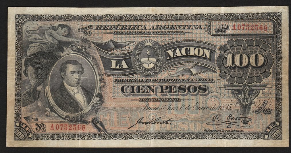 Argentina 100 Pesos Banknote 1895 First Issue World
