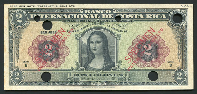 Costa Rica banknotes 2 Colones Mona Lisa note bill