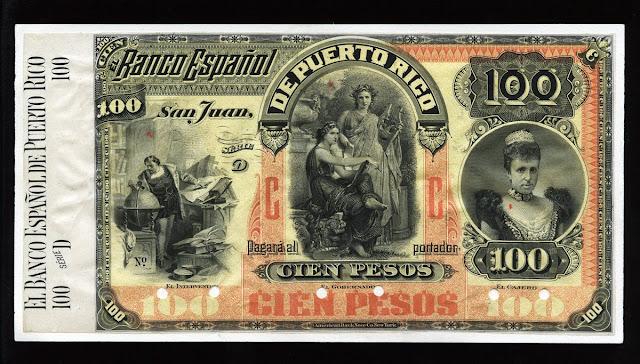 Puerto Rico banknotes 100 pesos note bill currency money peso dollar