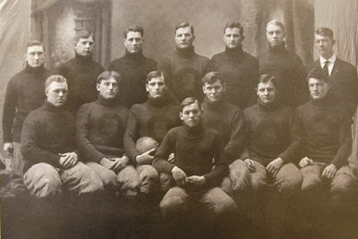 George Hastings (top row, left) and the 1910 Oregon Agricultural College (former name of Oregon State University) football team as pictured in 'The 1912 Orange' yearbook, p. 159.