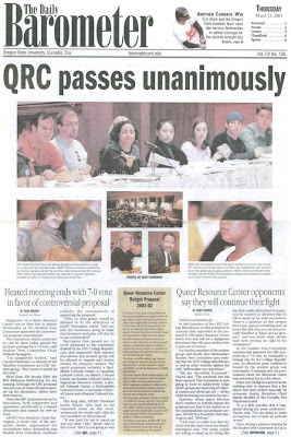 OSU Queer Resource Center headline 'QRC passes unanimously,' OSU Barometer, Mar. 15, 2001, p. 1