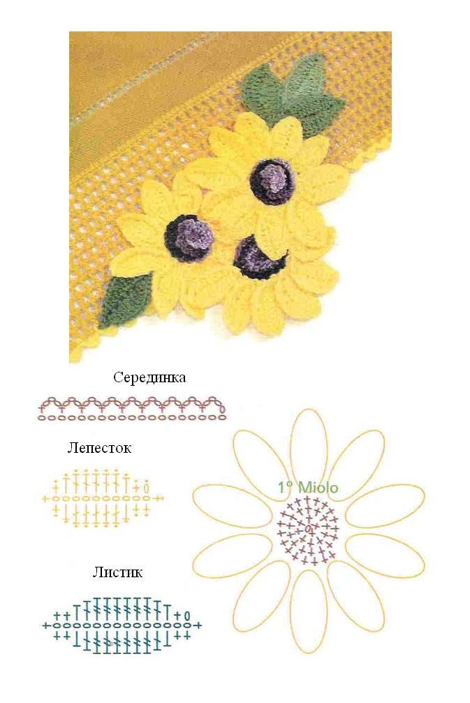 Patrones Crochet, Manualidades y Reciclado: FLORES DE GIRASOLES ...