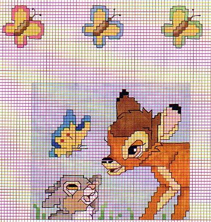 Punto croce bambi 13 for Disegni punto croce per bavaglini