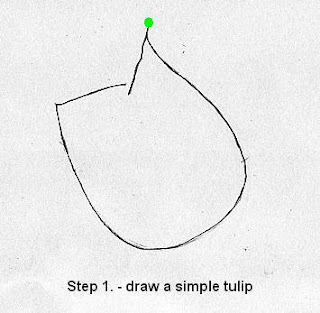Draw a rose in five steps-step 1