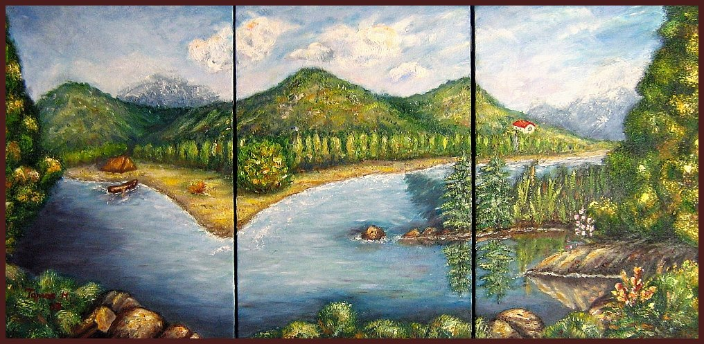 summer scene near a lake-oil painting