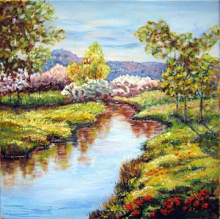 Summer landscape on a river side-acrylic painting