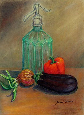 Still life with an old soda bottle and vegetables