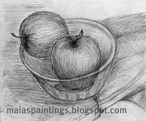 Apples in a bowl-pencil drawing