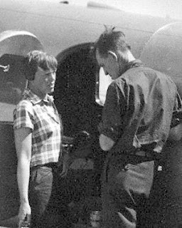 Amelia Earhart, her navigator Fred Noonan, and the Electra plane in which they did not complete their circumnavigation of the globe.